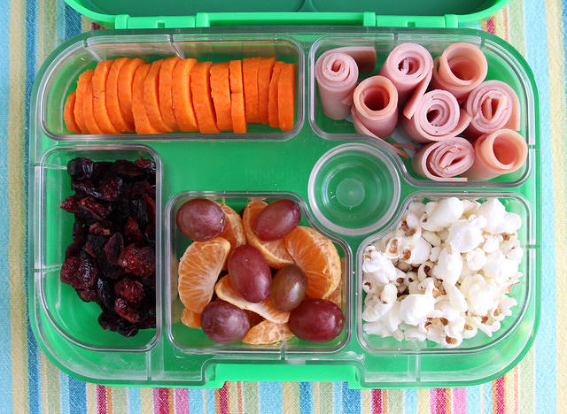 Carrot Coins and Popcorn Yumbox Bento