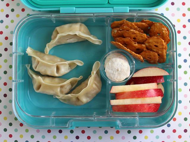 Dumplings, Apples and Pretzels Bento