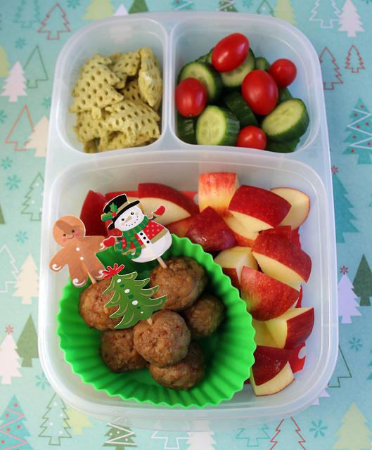 Christmas-y Meatball Bento Box
