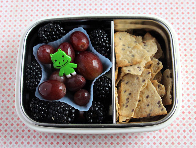Berries, grapes and cracker snacker