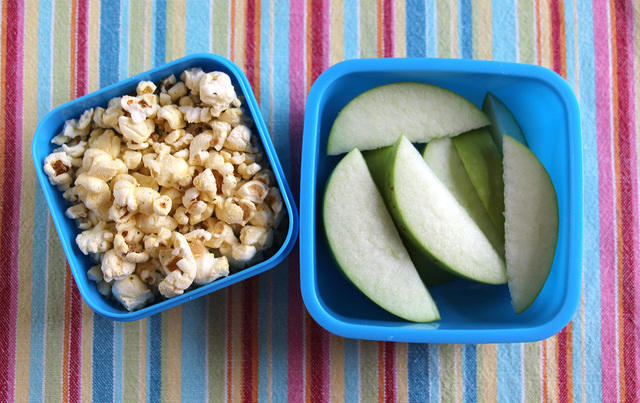 Popcorn and apples snack