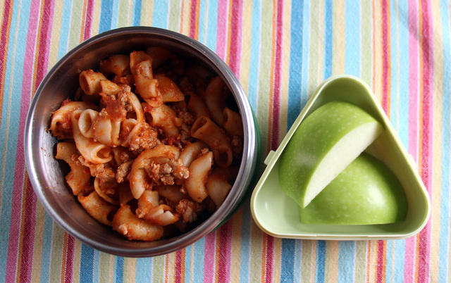 Goulash and apples lunch