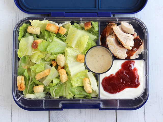 Yumbox Tapas packed with a Caesar Salad for a teen