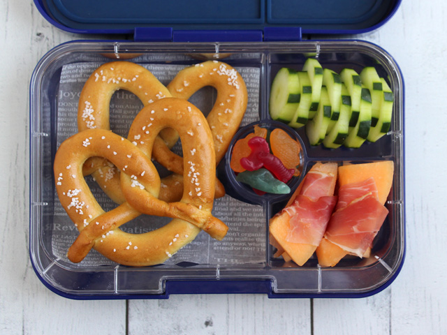 Yumbox Tapas filled with soft pretzels