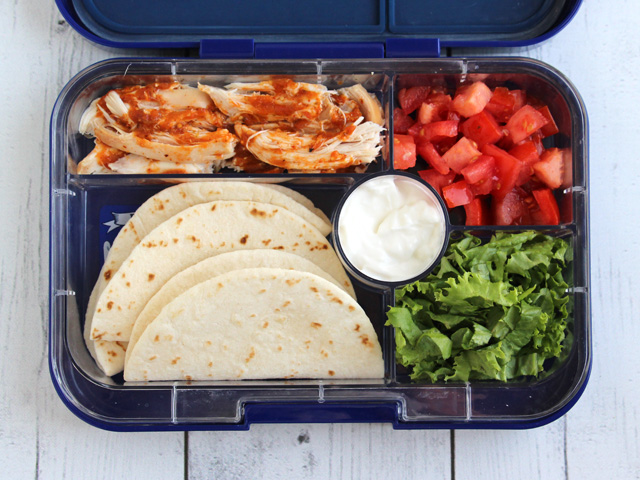 Yumbox Tapas lunch box filled with chicken taco fixin's