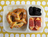 Yummy Soft Pretzel Bento for the First Day of 8th Grade